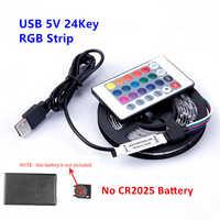 RGB LED tira de luz 5V USB 60 LEDs/m 2835 SMD LED Flexible cinta HDTV TV PC de escritorio Fondo iluminación de pantalla 1M 2M 3M 4M 5M