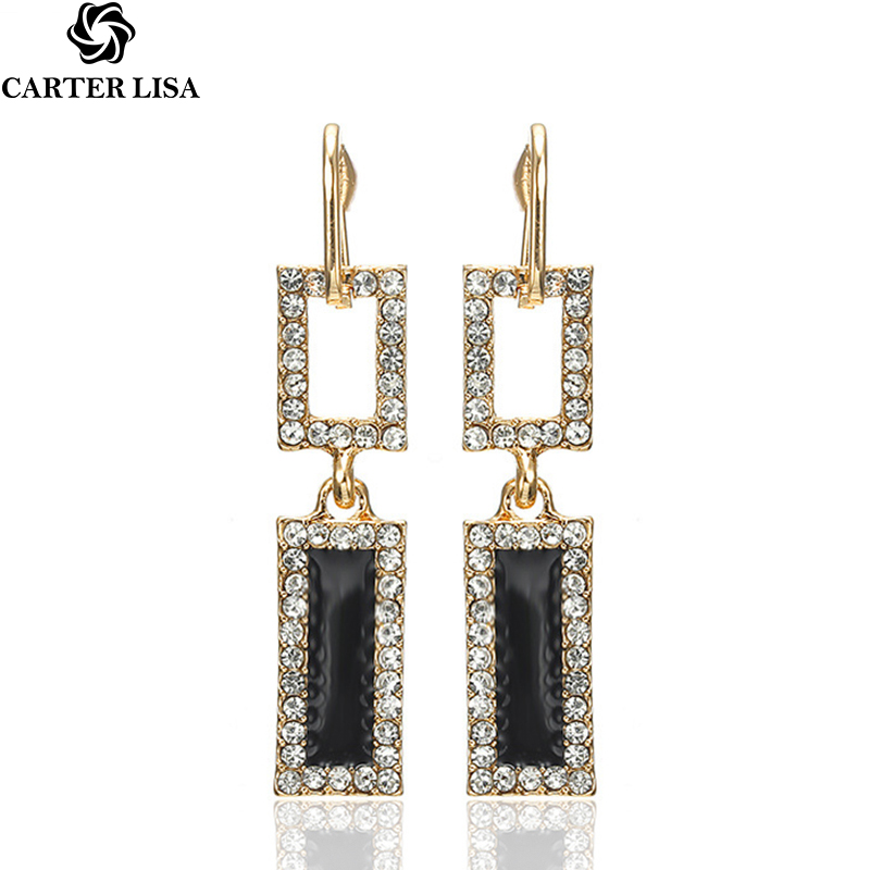 CARTER LISA Hot Fashion Simple Geometry Square Drop Earrings Gold Color Charm Crystal Long Dangle Earrings For Women HLEZ97000