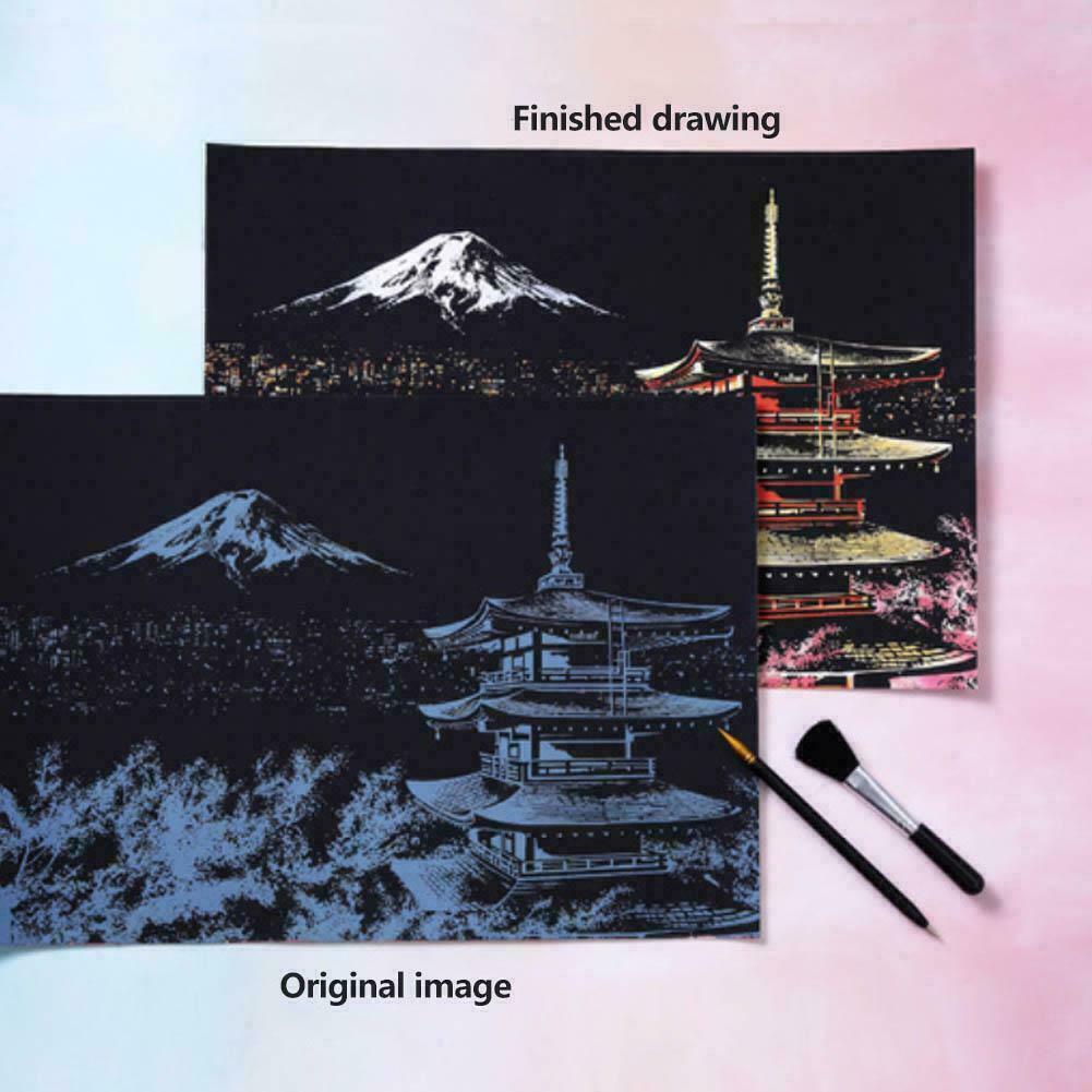 City Magic Scratch Art Painting Paper DIY Drawing Brush Stick Kit Toy Home Decor