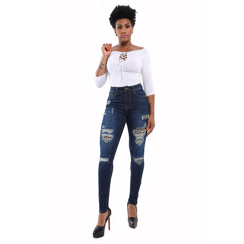 Women Casual Ripped Hole Jeans Sexy Zipper Solid High Waist Denim Pants Skinny Jeans Pencil Trousers