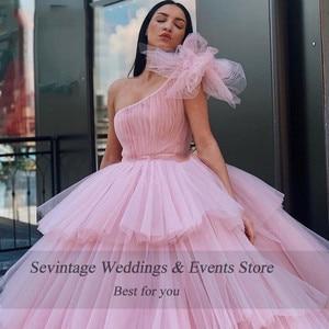 Sevintage розовое пышное платье на одно плечо бальное платье Дубай многоярусные Плиссированные Длинные Формальные Выпускные платья Saudi арабски...