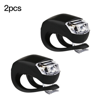 Bicycle Front Light Silicone LED Head Front Rear Wheel Bike Light Waterproof Cycling With Battery Bicycle Accessories Bike Lamp image