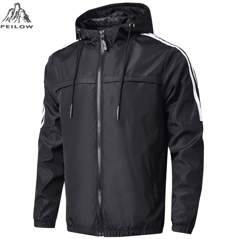 Spring Autumn Mens Fashion Outerwear Men' S Windbreaker Stripe Jackets Hooded Casual Sporting Gym Joggers Coats Size M~7XL 8XL