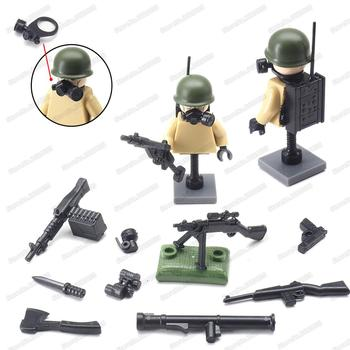 Assemble Figures Army Weapons Gun Building Block Military Moc US. Army WW2 Equipment Radio Station Soldier Model Child Gift Toy 1 18 joytoy action figures hardcore us army paladin military soldier figure model toys collection toy anime christmas gift