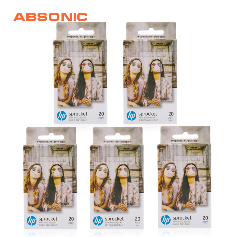 Absonic 100Sheets For HP Sprocket Photo Paper 2x3