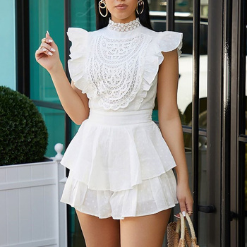 Women Sexy Lace Playsuit Elegant Cotton Short Sleeve Short Jumpsuit Romper Mesh Embroidery Backless Overalls Streatwear rlmababy casual women cotton playsuit jumpsuit square collar long sleeve bodycon sexy romper overalls knitted ribbed playsuit