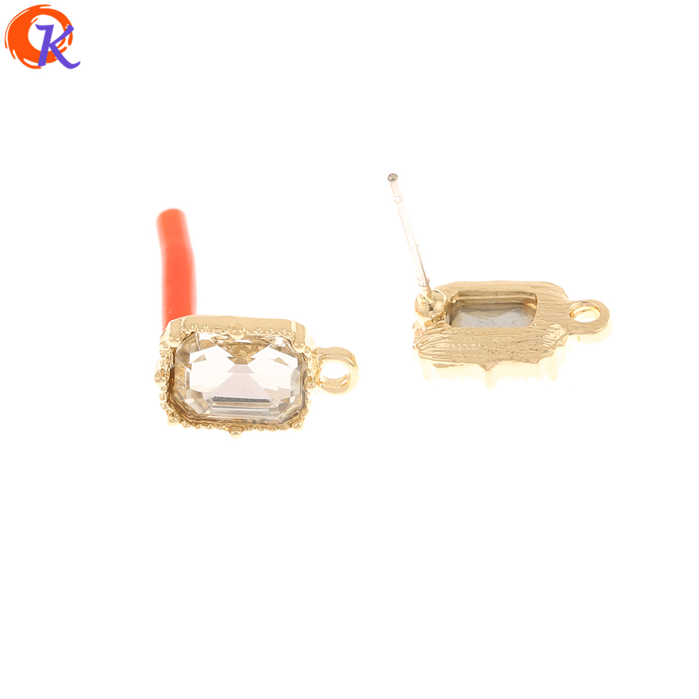 Cordial Design 100Pcs 8*13MM Jewelry Accessories/Rhinestone Earrings Stud/Square Shape/Hand Made/DIY Making/Earring Findings