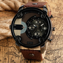 New Men Wristwatch Men Sports Watches Fashion Military Army Two Time Zones Quartz Watches Leather horloge mannen montres homme все цены
