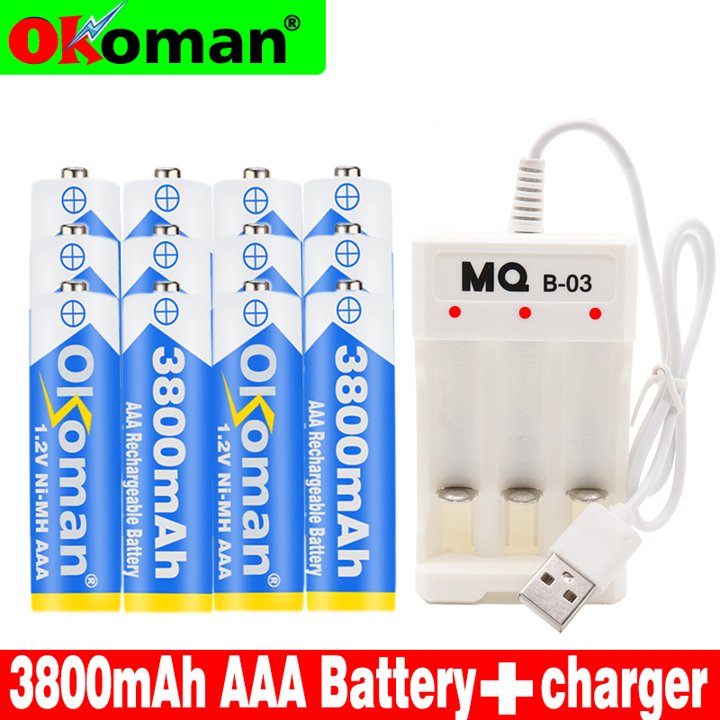 Original high capacity AAA 1.2V 3800mAh Rechargeable NiHM Battery Charging times or 1200 times Free shipping with Charger|Replacement Batteries| |  - title=