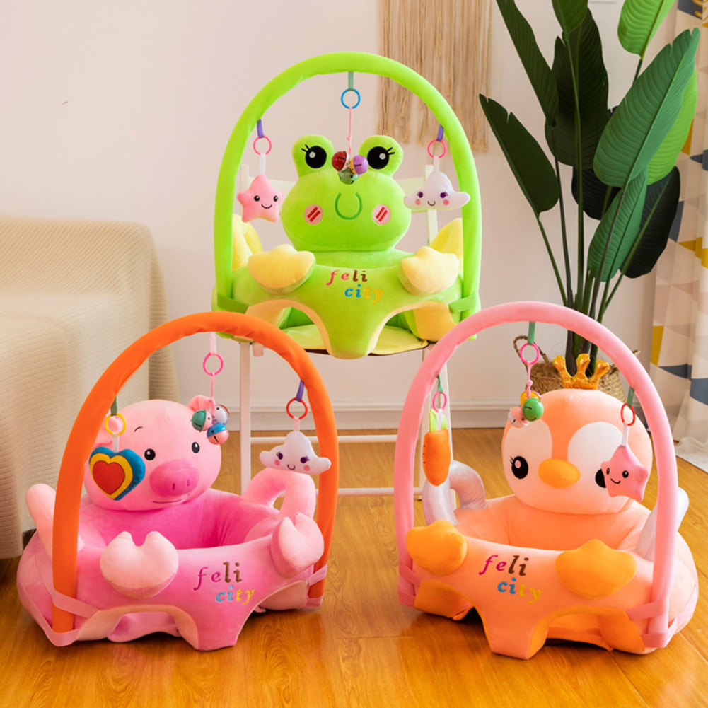 Sofa Set Support Seat Cover Baby Plush Chair Cartoon Learning Sit Plush Chair Toddler Nest Puff Washable With Rod & Toys No Fill