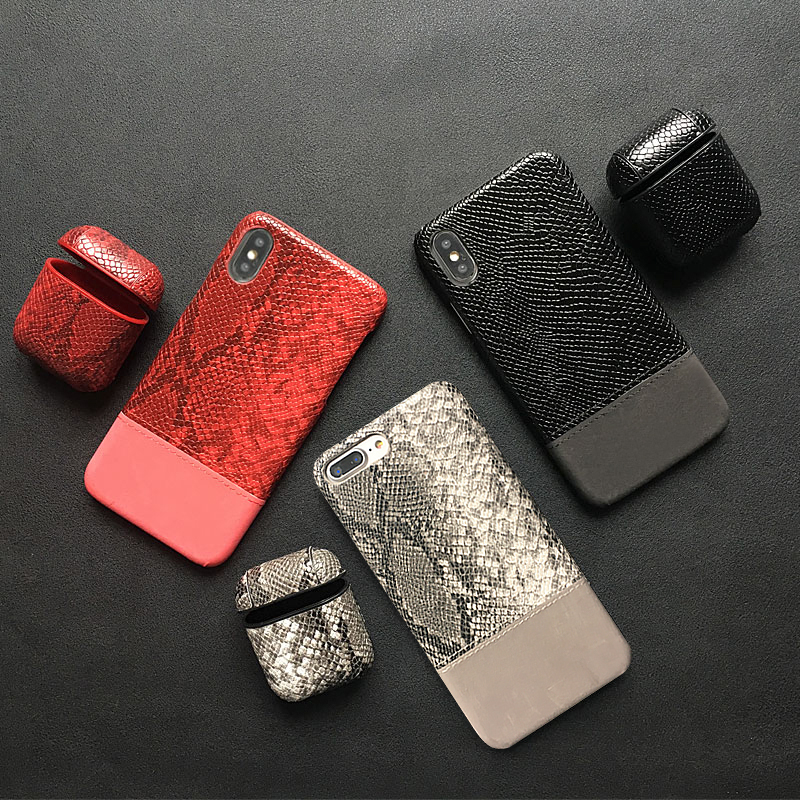 SnakeSkin Leather PU Phone Case For iPhone And Airpods Pro Earphone Headset Cover