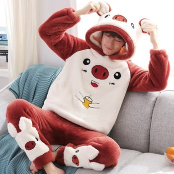 Men's pajamas autumn and winter style coral Plush thickened flannel cartoon Hoodie for men can wear home clothes  Suit m style диван coral