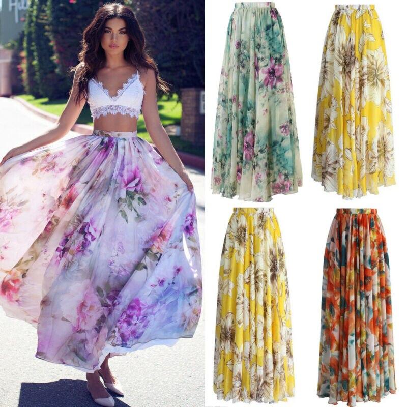 Women Jersey Floral Gypsy Stretchy High Waist Pleated Long Maxi Skirt Sun Dress