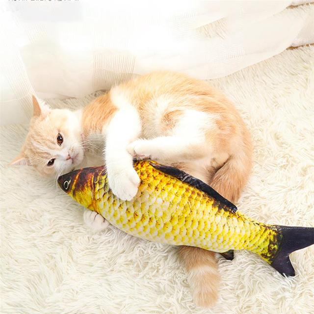 Pet Soft Plush 3D Fish Shape Cat Toy Interactive Gifts Fish Catnip Toys Stuffed Pillow Doll Simulation Fish Playing Toy For Pet 3