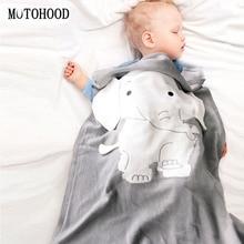 MOTOHOOD Baby Blanket Knitted Newborn Blankets Super Soft Stroller Elephant Wrap Infant Swaddle Kids Stuff For Monthly Toddler