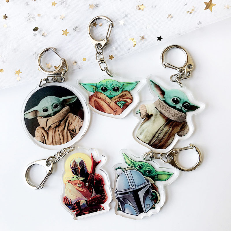 Movie Mandalorian Baby Yoda Keychain Cute Yoda & Mando Animated Children's Toy Pendant Keychain Car Keychain