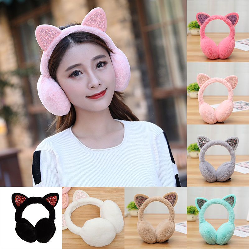 Cute Cat Warm Earmuffs Winter Faux Fur Fluffy Ear Muffs Headphones Headband Glitter Sequin Ear Warmer Accessories Headphones