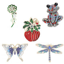 Crystal Brooch Pins For Women Dragonfly Butterfly Bee Brooches Jewelry Fashion Wedding Party Bijoux Christmas Gift fashion christmas wreath brooch cute jewelry christmas gift pins and brooches crystal mosaic collar clip scarf buckle jewelry