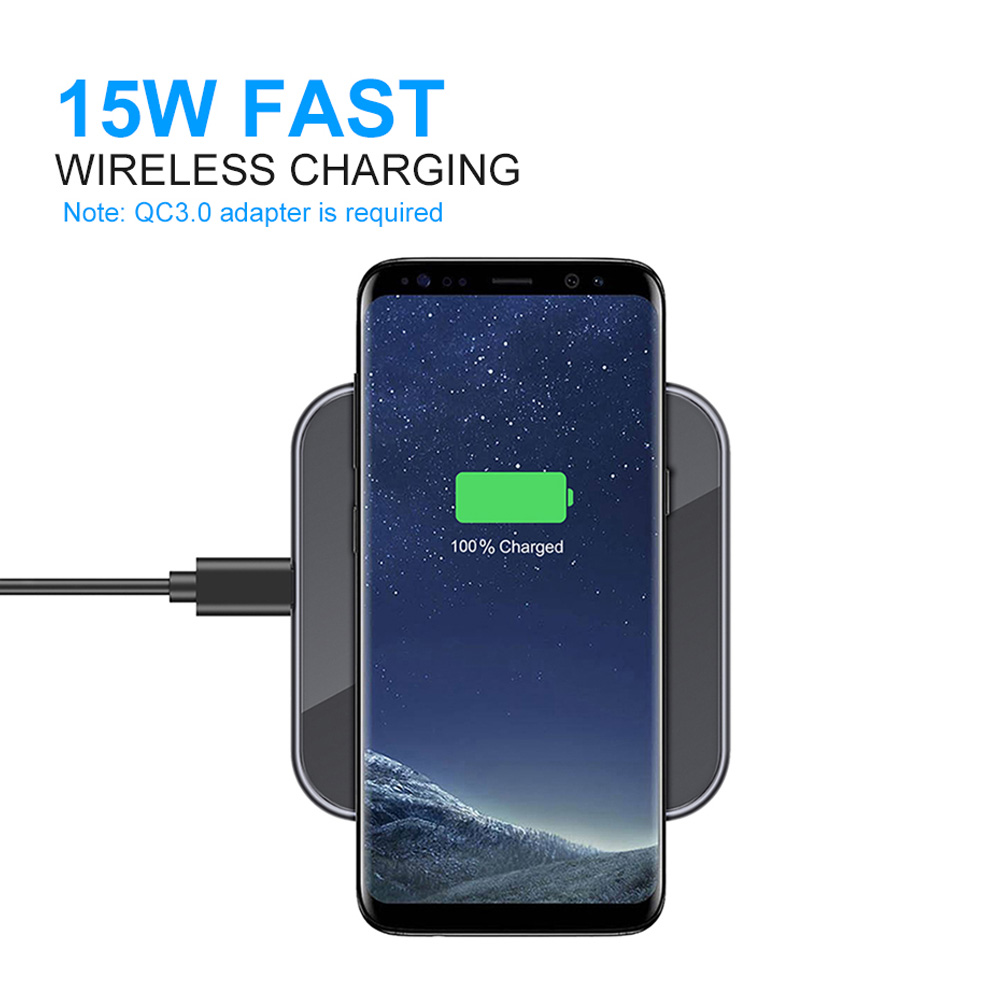 Image 4 - Ascromy 15W Wireless Fast Charger For Samsung S10 Huawei P30 Pro Xiaomi  Qi Wireless Charging Pad Induction 7.5W For iPhone X XR-in Mobile Phone Chargers from Cellphones & Telecommunications