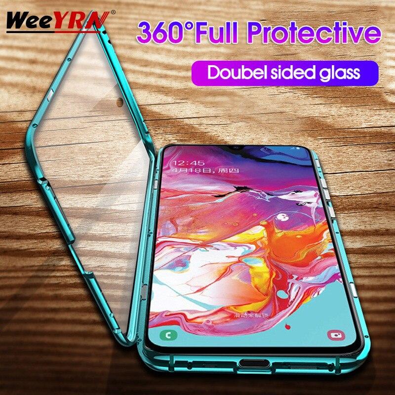 Adsorção de metal Magnético 360 Caso Para Samsung Galaxy A50 A30 A70 A60 A80 S10 S9 S8 Plus S10E Duplo Temperado tampa da Caixa de vidro