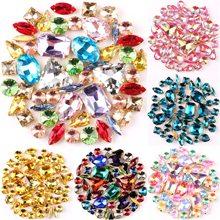 Altın pençe ayarı 50 adet/torba şekiller mix temizle ve jöle şeker AB cam kristal rhinestone düğün elbisesi ayakkabı çantaları diy döşeme
