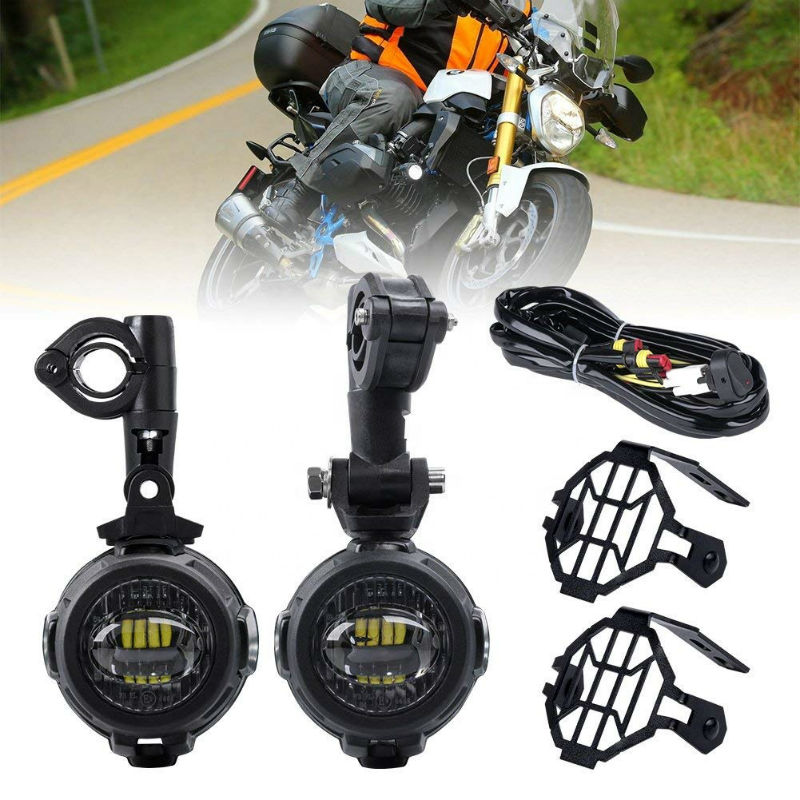 Motorcycle LED Auxiliary Fog Light With Protect Guard Cover LED Driving Lamp For BMW R1200GS F800GS F850GS F750GS