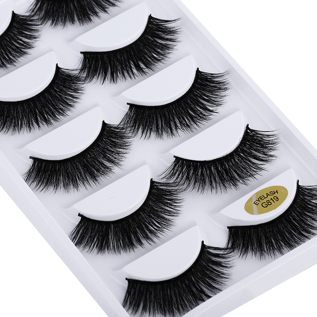 5 pairs 5D Mink Eyelashes Natural False Eyelashes Lashes Soft Fake Eyelashes Extension Makeup Wholesale 3