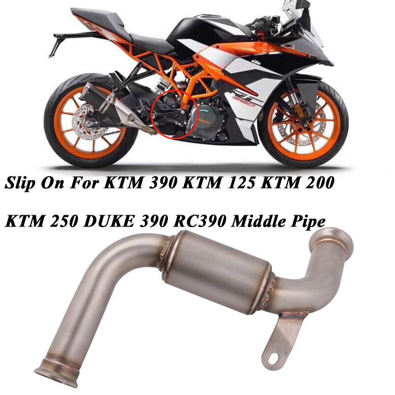 Escape-Connection Middle-Link-Pipe Slip-On Motorcycle Exhaust for Ktm-125-250 RC390 390-Duke