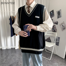 Men Sweater Knitted Vest Harajuku Korean-Style Sleeveless Male Streetwear Patchwork Casual