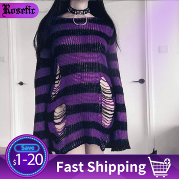 Rosetic Women Sweater Long Pullover Striped Loose Befree Gothic Winter Jackets Hole Sweaters Knitted Jumpers Sweter Mujer Goth