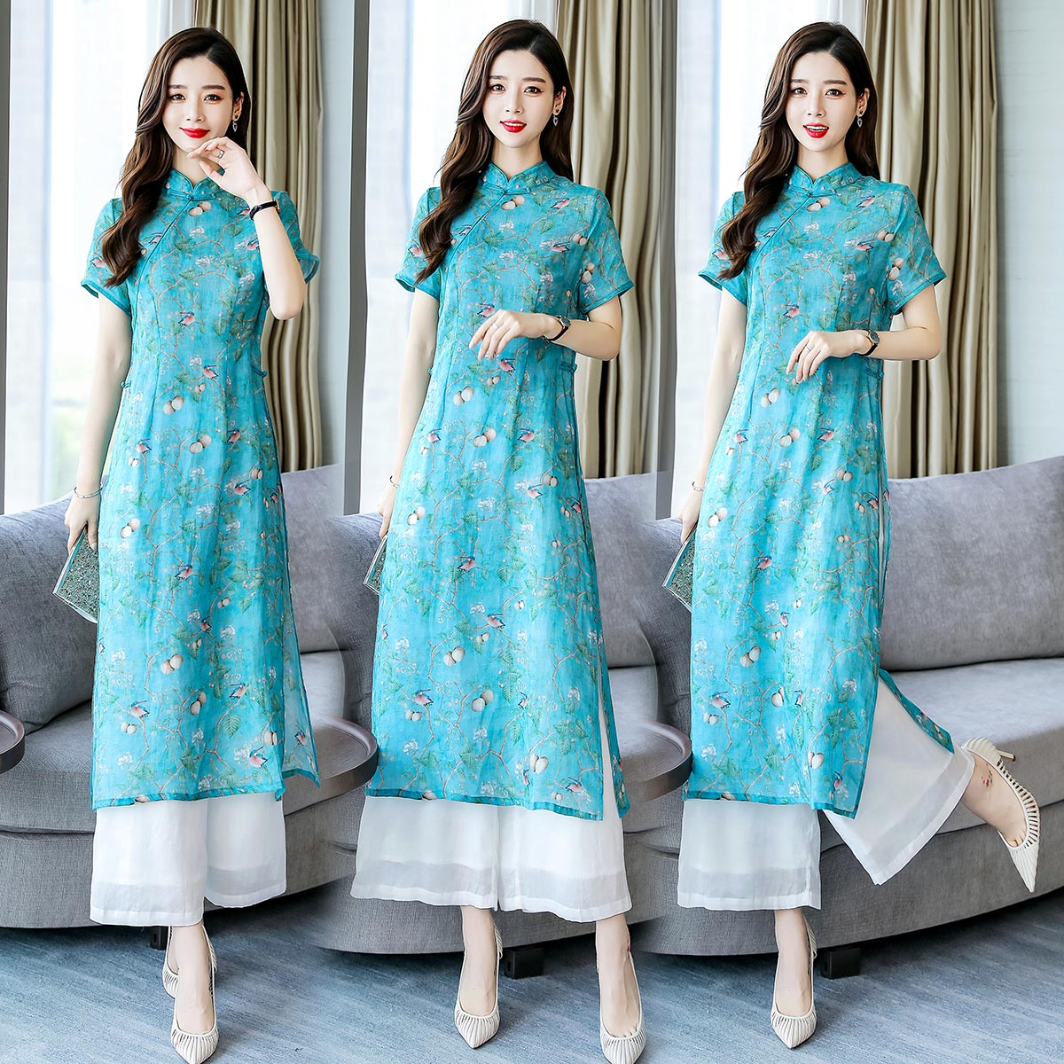 2019 Folk Style Ao Dai Vietnam Clothing Chiffon Aodai Graceful Dress Stand Collar Elegant Traditional Clothing Floral Aodai