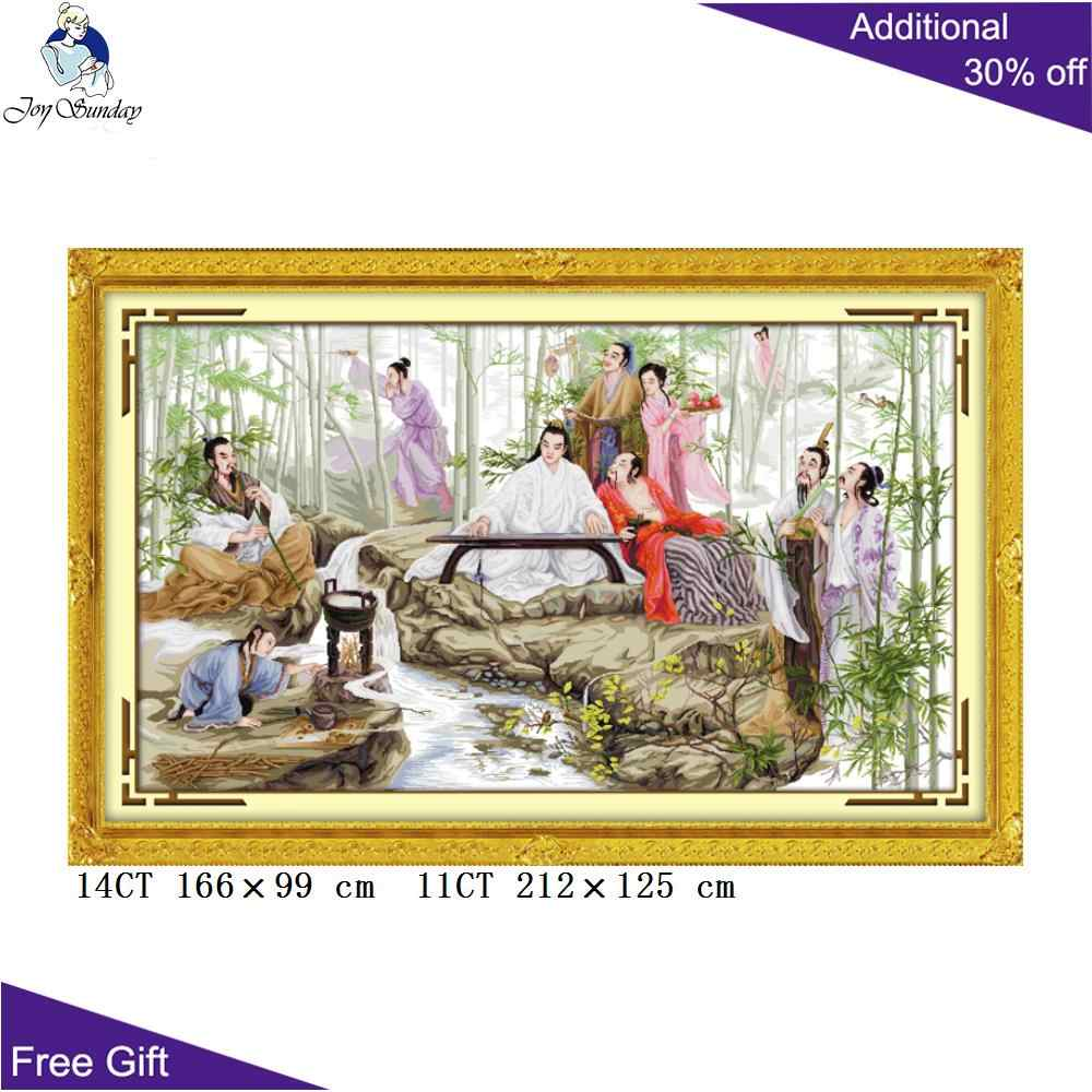 Joy Sunday Chinese Ancient Style Embroidery R174 Home Decoration Counted and Stamped Watching Bamboo China Cross Stitch kits