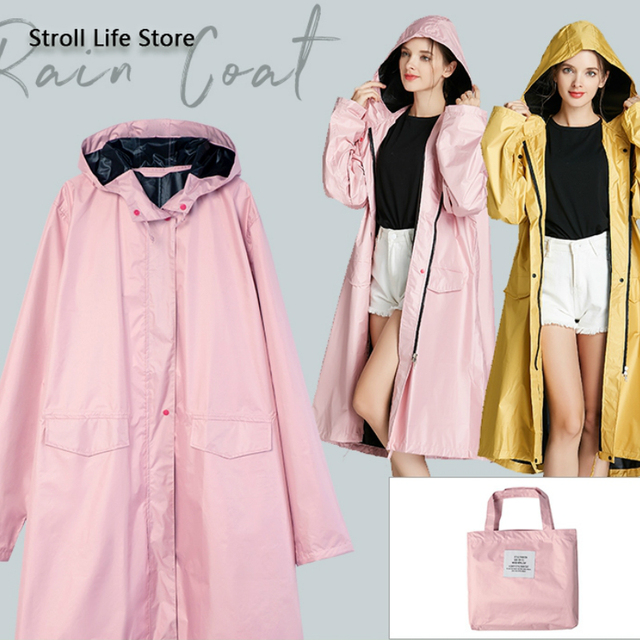 Pink Long Raincoat Women Jacket Hiking Travel Yellow Blocking Sunscreen Rain Coat Waterproof Rain Poncho Windbreaker Impermeable 1