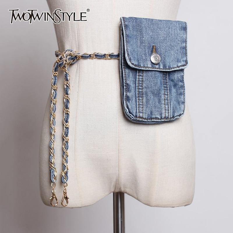TWOTWINSTYLE Korean Worn Denim Phnom Winding Belt Purse Female Big Long Bag Accessories For Women 2020 Summer Fashion New