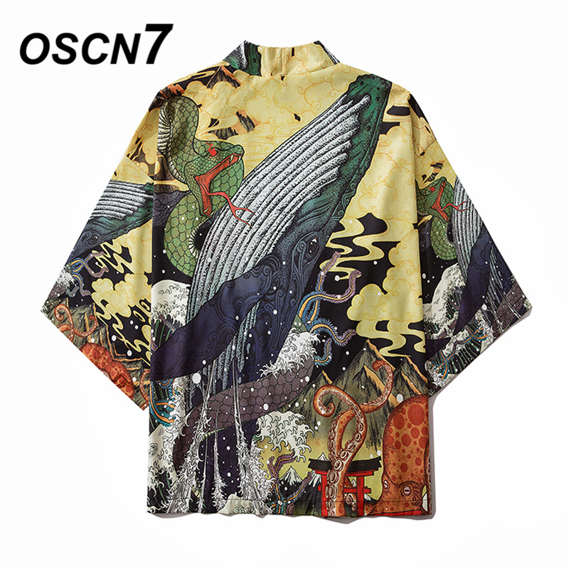 OSCN7 Printed Kimono Cardigan Shirt Men 2020 Japanese Streetwear Three Quarter Sleeve Coat Shirts Harujuku Mens Shirt 6042