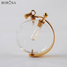 Perfume Bottle Crystal Necklace for Women Gold Silver Color Round Natural Stones Essential Oils Diffuser Pendant Necklace WX1304 недорого