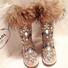 Snow-Boots Casual-Shoes Rhinestone Handmade Real-Fur Winter Genuine-Leather Women Warm