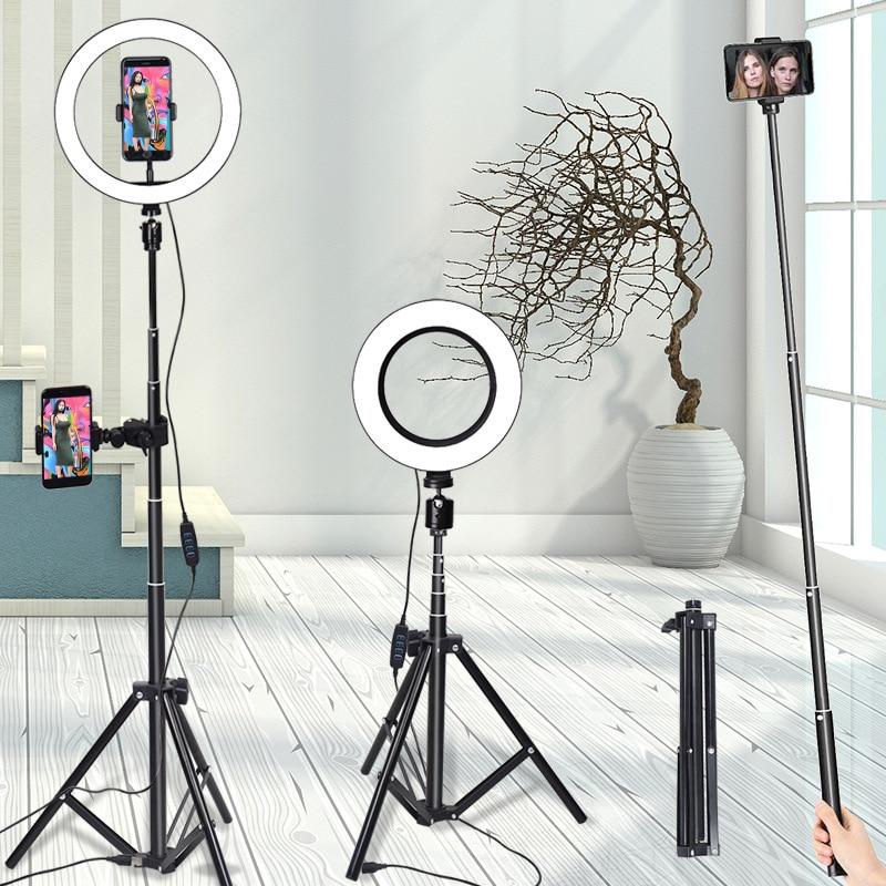 26cm 10 Inch Photography LED Light Tripod Ring Lamp Set Youtube Video Live Photo Studio Mobile Phone Selfie Stick Make Up Light