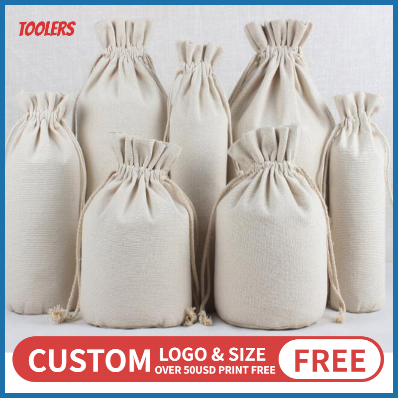 10pcs/lot Round Bottom Fungus Lace Cotton Canvas Bags Tools Race Food Red Wine Storage Drawstring Packaging Bag Custom Logo