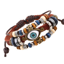 European and American Beaded Eye Leather Bracelet Adjustable Men's and Women's Leather Bracelet Jewelry beaded and metal triangle decorated bracelet set