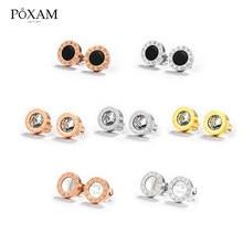 Pendientes de acero inoxidable con estilo coreano para mujer, aretes pequeños de cristal de Número Romano Vintage, joyería 2019