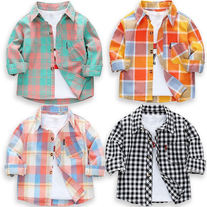 2020 New Toddler Boys Shirts Long Sleeve Plaid Shirt For Kids Spring Autumn Children Clothes Casual Cotton Shirts Tops 24M-9Y