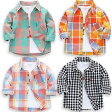 Plaid Shirt Tops Spring Children Clothes Long-Sleeve Toddler Kids Cotton New Boys