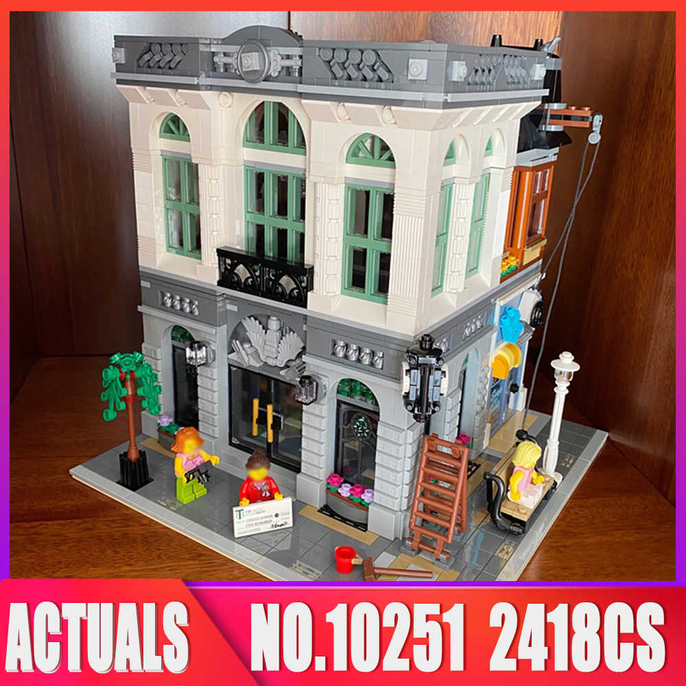 Creator Series City 15001 2418PCS Brick Bank Street View modello Building Blocks mattoni giocattoli educativi bambini compleanni regali