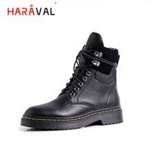 HARAVAL Fashion Women Ankle Boots Luxury Genuine Leather Winter Round Toe Low Heel Shoes Black Lace-up Casual Martin B210