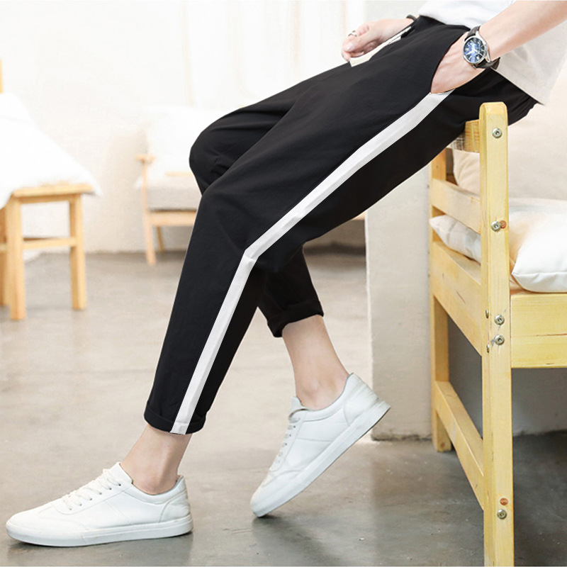 2019 Summer New Style Men White Capri Pants Cotton Linen Casual Pants