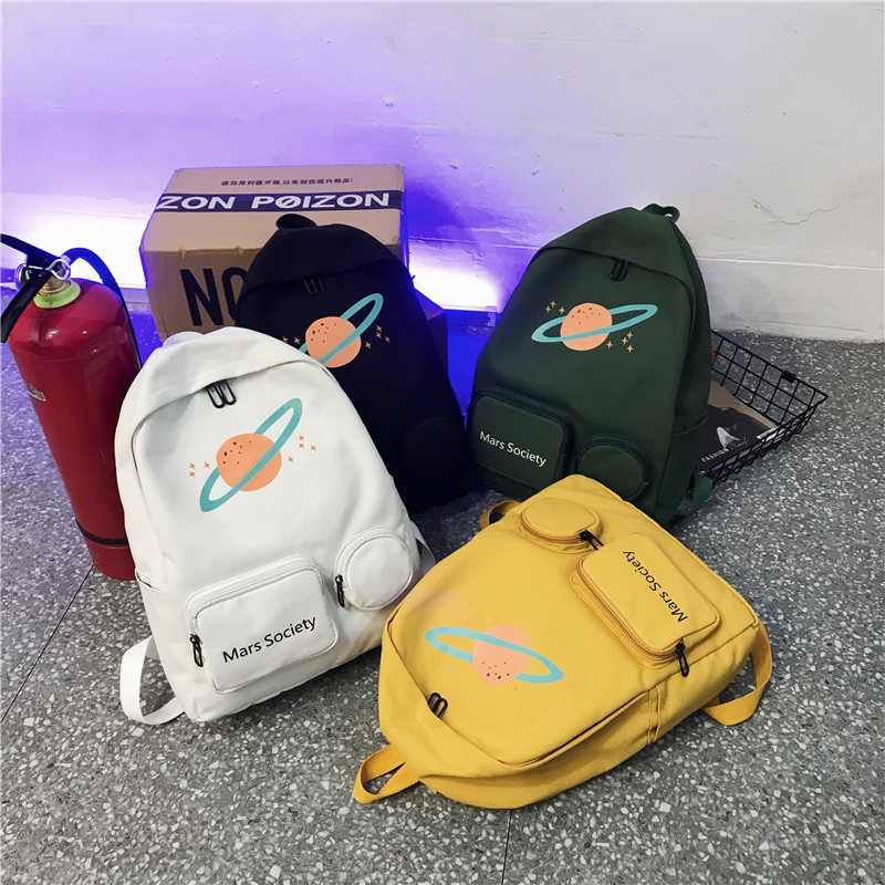 Women Backpack Shoulder Bags 2019 New Hot Fashion Female Casual Preppy Style Embroidery Saturn Universe Soft Zipper Backpacks