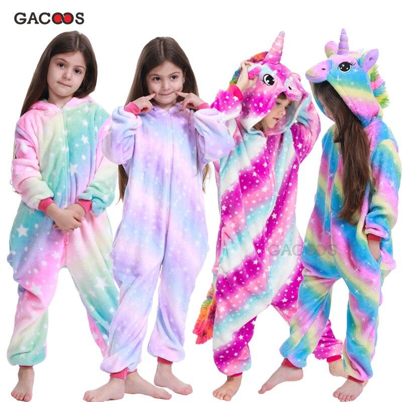 Girls Animal Unicorn Pajamas For Children Winter Unicornio Sleepwear Kigurumi Stitch Panda Pyjamas Kids Onesie Anime Jumpsuit