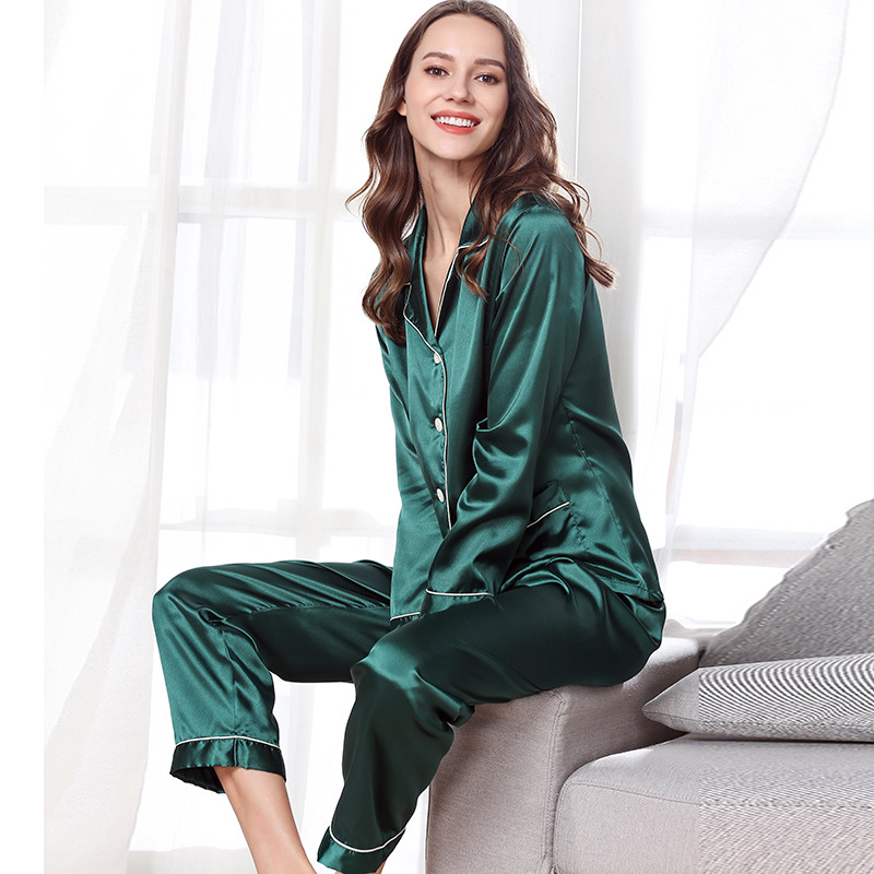 Cross Border Manufacturers Direct Selling Pajamas Women's Spring And Autumn Imitated Silk Fabric Pajamas Suit Long Sleeve Trouse