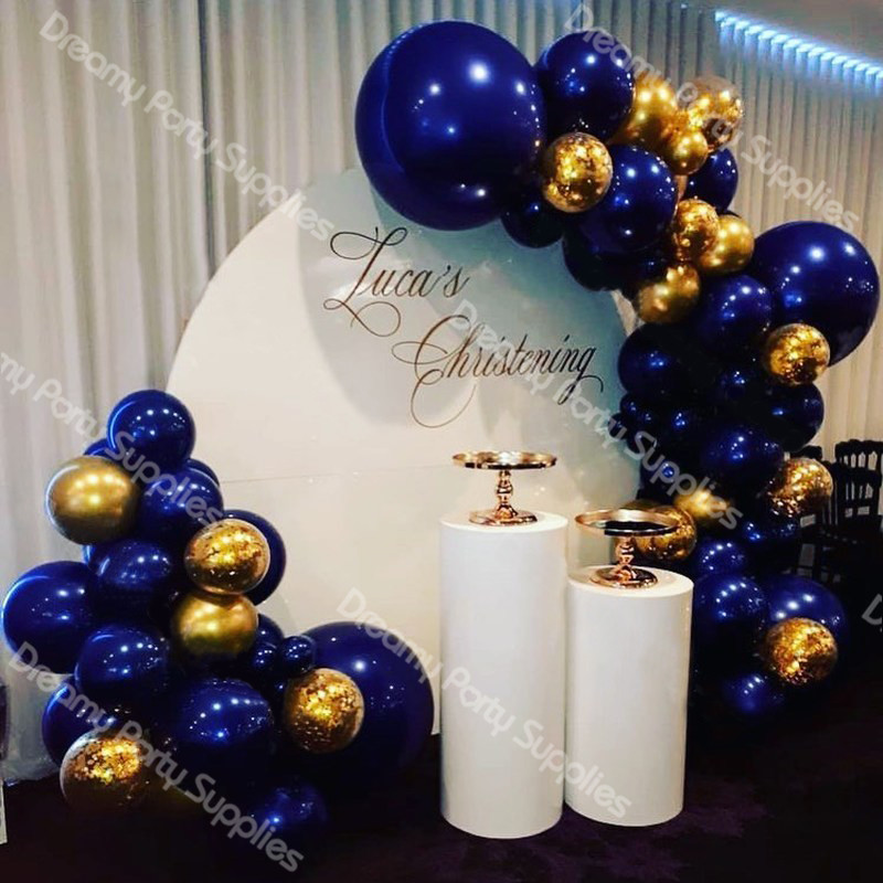 80pcs Christening Balloons Garland Arch Navy Blue and Gold Foil Latex Balloon for Baby Shower Christianism Party Decoration